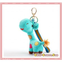 Large Kawaii Nanaco Giraffe Plush Key Chain w/ Wrist Strap! Blue!